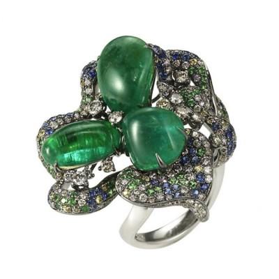 """Esmeralda"" Emerald & Sapphire Ring"