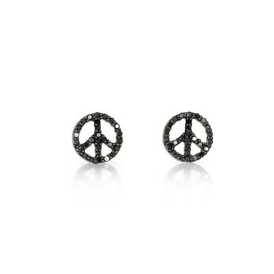 Black Diamond Peace Earrings