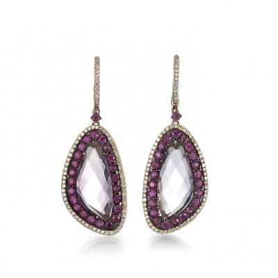 """Madeleine"" Amethyst & Ruby Earrings"