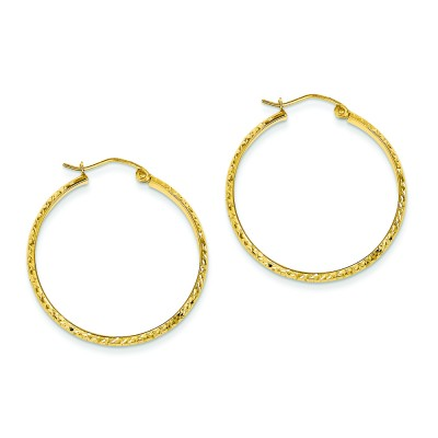 14-karat gleaming diamond cut hoops