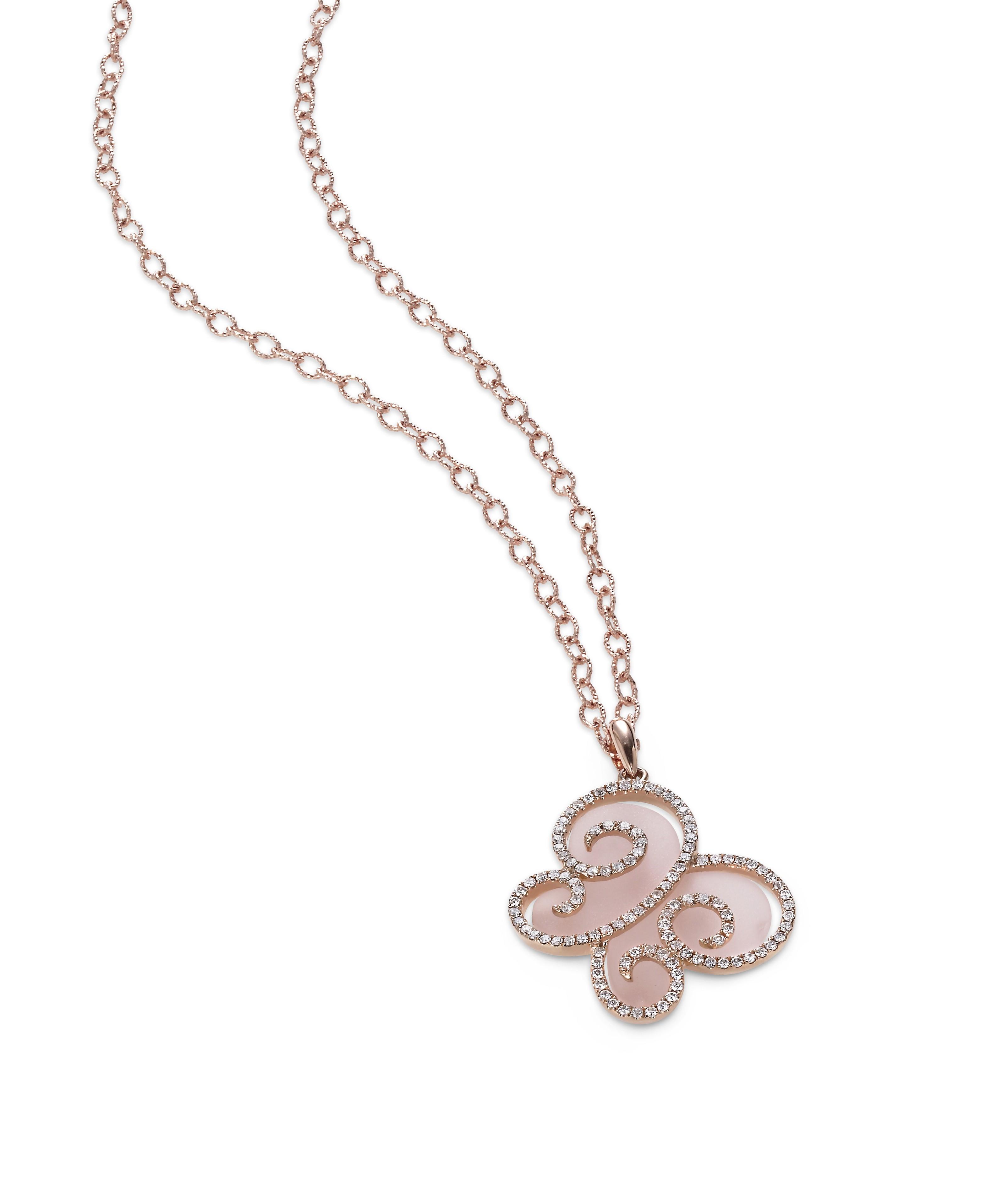 """""""Pink Papillon"""" Rose Quartz & Diamond Pendant"""