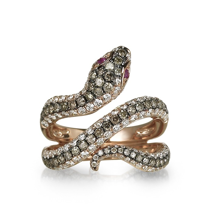 """Aspis"" Diamond Snake Ring"