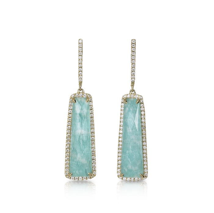 """Azure Piscines"" Amazonite & Diamond Earrings"