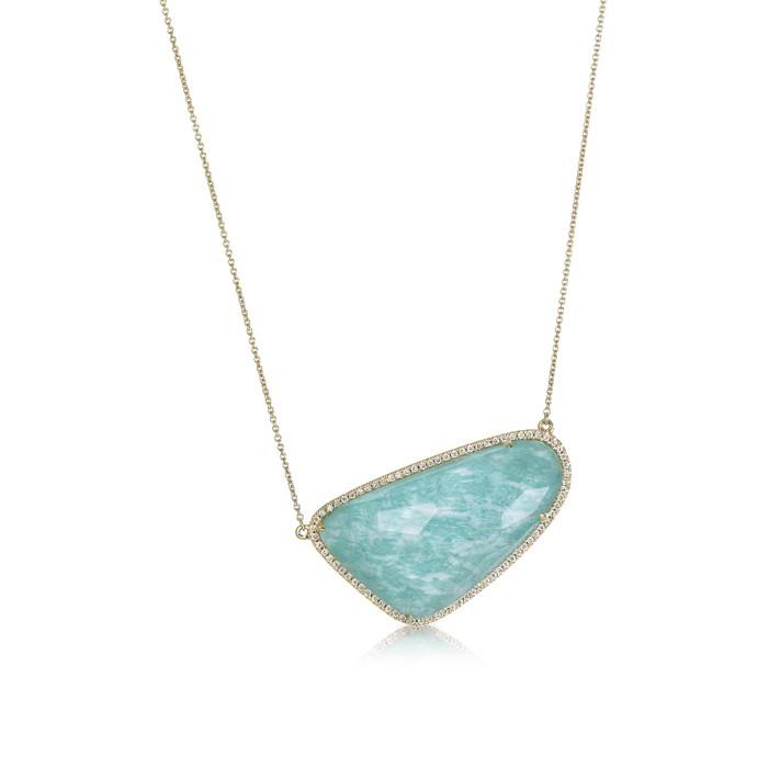 """""""Azure Piscine"""" Amazonite & Diamond Necklace"""
