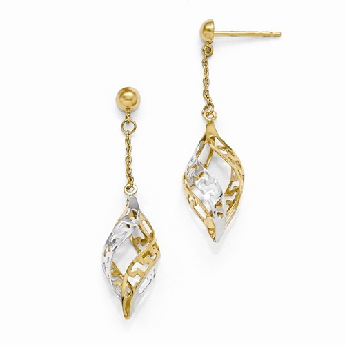"""Emily"" 14-karat 2-tone dangle earrings with flushes of glisten"