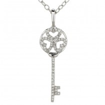"""Chiave"" Collection Diamond Clover Key Pendant"