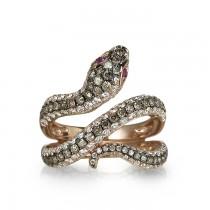"""""""Aspis"""" Diamond Snake Ring"""