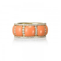 """Evangeline"" Coral & Diamond Ring"