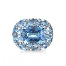 """Blue Nebula"" Topaz & Diamond Ring"