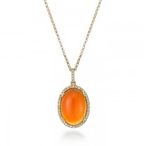 """Sunset Sky"" Carnelian & Diamond Necklace"