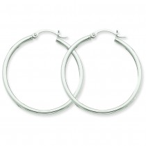 14-karat white gold polish round hoops